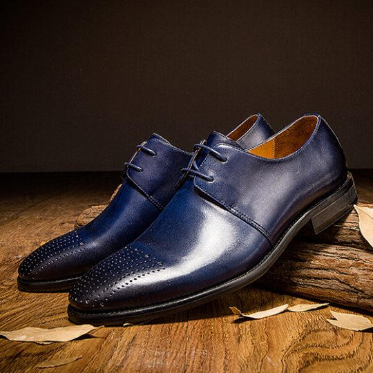 Plain Derby Straight Lining Brogue - Navy Blue