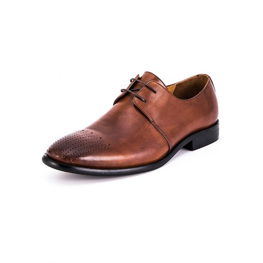 Plain Derby Straight Lining Brogue - Tan