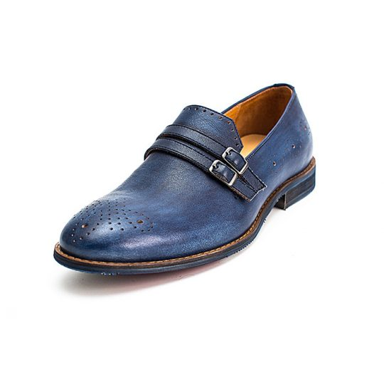 Brogue Double Monkstrap - Blue