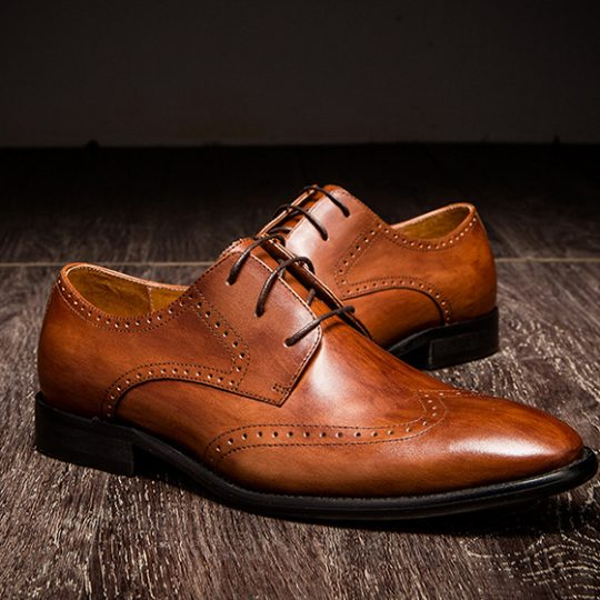 Brogue Wingtip Derby - Burnished Tan