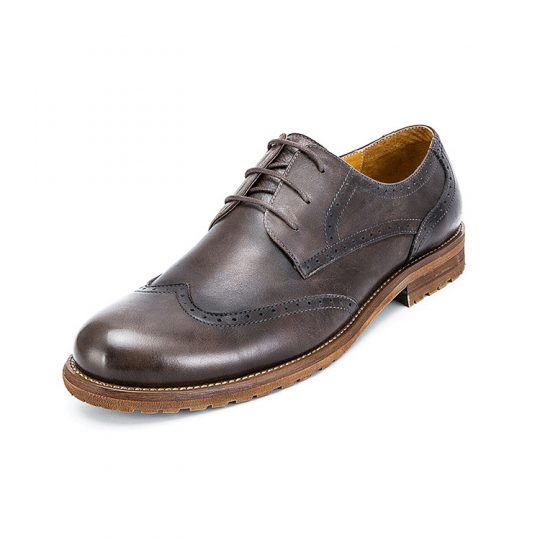 Brogue Wingtip Semi Derby - Dark Grey Brown