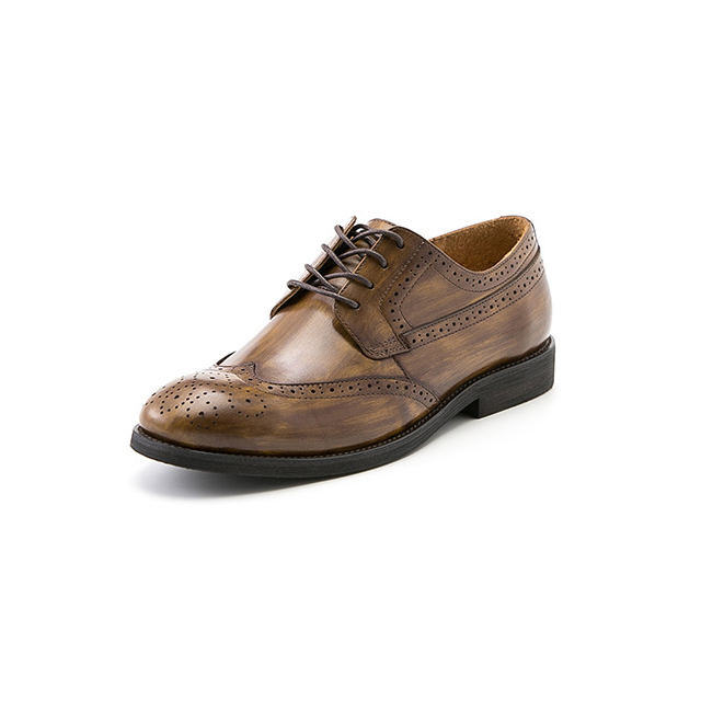 Brogue Wingtip Semi Derby - Burnished Tan