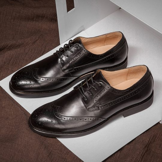 Brogue Wingtip Semi Derby - Burnished Black