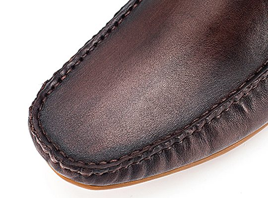 Square Whole Plain Penny Loafers - Dark Brown