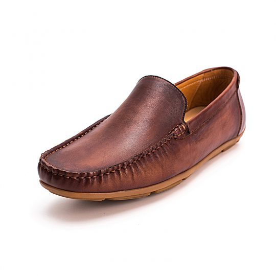 Square Whole Plain Penny Loafers - Tan